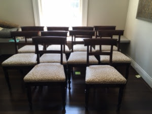 Set of ten (10) dining room chairs