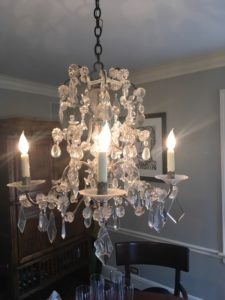 1905 Brass and Crystal Chandelier