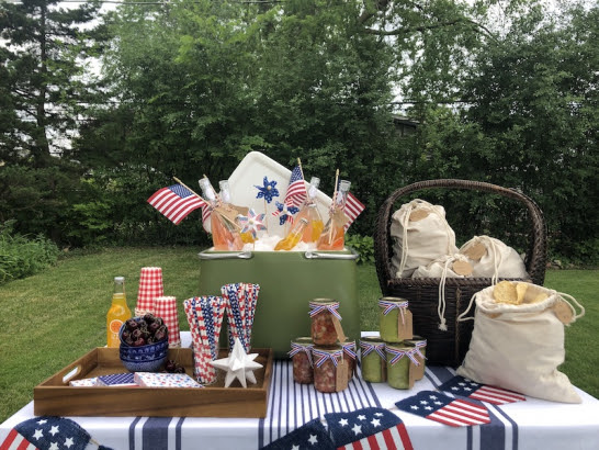 Picnic table with American Independence Day decorations