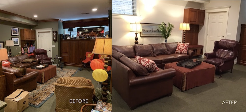 Before and after versions of basement home