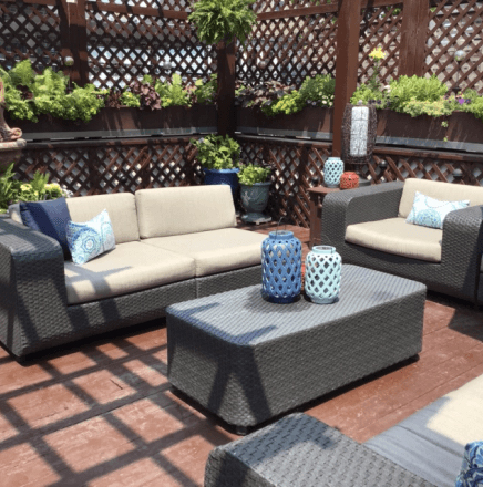 Outdoor patio with furniture and decor